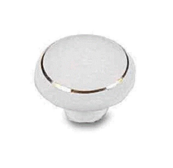 "1 Belwith P23-GC  White Ceramic w/ Gold Ring 1-3/8"" Cabinet Knob"