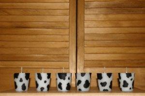 Cow Print Votive Candles 6 Set. Triple Scented Wax