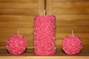 Rose pillar and rose ball candles 3 set. STUNNING! Intricate detail.