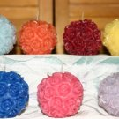 Rose ball candles 3 set. STUNNING! Intricate detail.