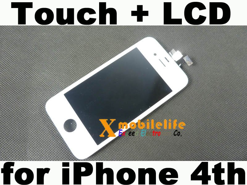 White Touch Digitizer Glass Screen LCD Display Frame Assembly for iPhone 4th Gen 16GB 32GB