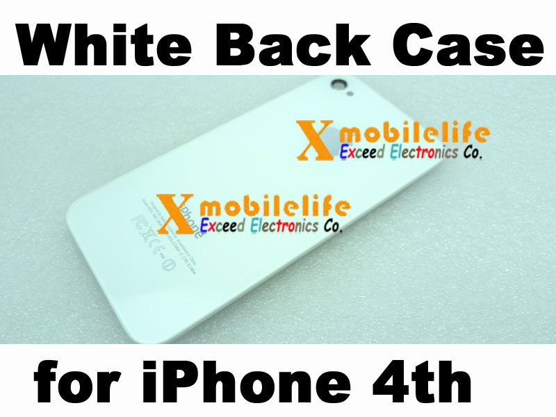 White Back Rear Glass Mirror Panel Case Battery Cover Housing for iPhone 4th Gen 4G 16GB 32GB