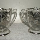 Sugar And Creamer Vintage Set With Silver Overlay Pattern