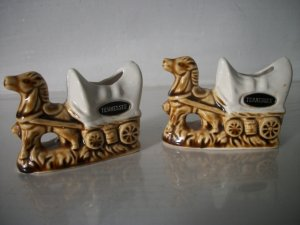 Tennessee Horse And Wagon Toothpick Holders Pair