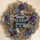 Patriotic Wreath Handmade With Burlap Mesh And Plaque God Bless America
