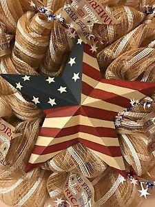 Patriotic Star Flag Wreath Handmade With Burlap Mesh and Ribbon 21 inch