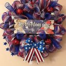Patriotic Wreath Handmade With Polyester Deco Mesh And Plaque With Stars