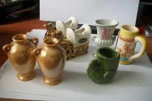 VINTAGE TOOTHPICK HOLDERS JAPAN LOT OF 7 PIECES - 2 1/2 INCHES TO 3 INCHES