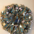 Fisherman Ocean Nautical Burlap Wreath Florida Sea Shells and Figurine