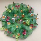 Froggy Wreath Handmade With Mint Green Deco Mesh With Patriotic Bycicling Frog