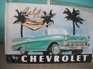 Chevrolet Belair Convertable 1957 Metal Shop Sign Reproduction