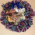 Patriotic Wreath Handmade With Polyester Mesh And Plaque America The Beautiful