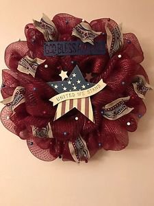 Patriotic Wreath Handmade With Metallic Mesh And Plaque United We Stand