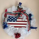 Patriotic Wreath Handmade With Polyester Mesh USA Plaque with Birds and Bow Trim