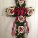 Synthetic Pine Cross Wreath With Mauve Roses And Ribbon