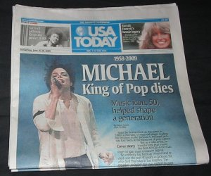 USA TODAY Newspaper Michael Jackson, Farrah Fawcett Dies issue