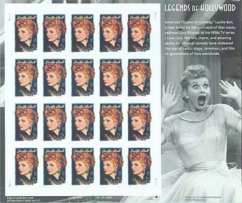 Lucille Ball Sheet of 20 34c US Postage Stamp