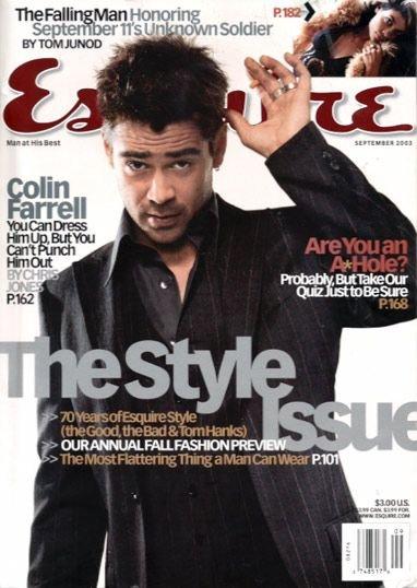 Esquire Magazine-Colin Farrell cover 09/2003 issue