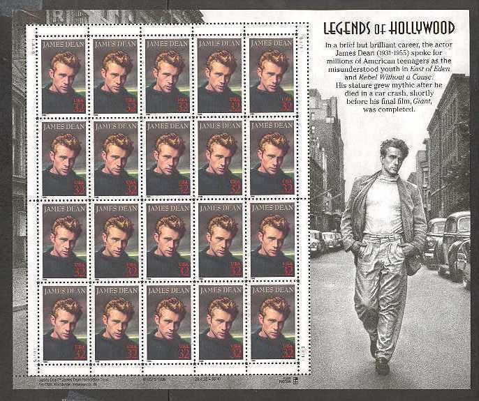 USA James Dean 32 cents stamp sheet (20 stamps)