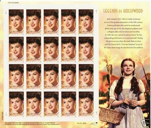 USA Judy Garland 39 cents stamp sheet (20 stamps)