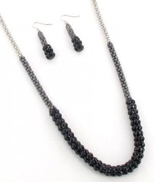 Tri-Color Tube Chain Necklace and Earrings