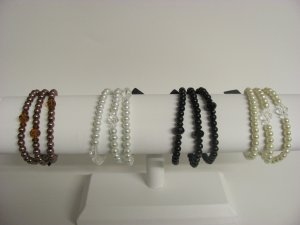 3-Strand Pearl and Crystal Bracelets