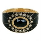 Gold Black Enamel Bangle Bracelet