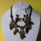 Leaves Charm Necklace, Earring Set