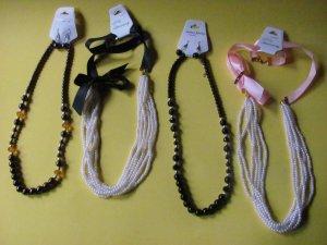 4 Faux Pearl Necklaces