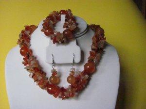 Carnelian Gemstone Necklace Earring Bracelet Set