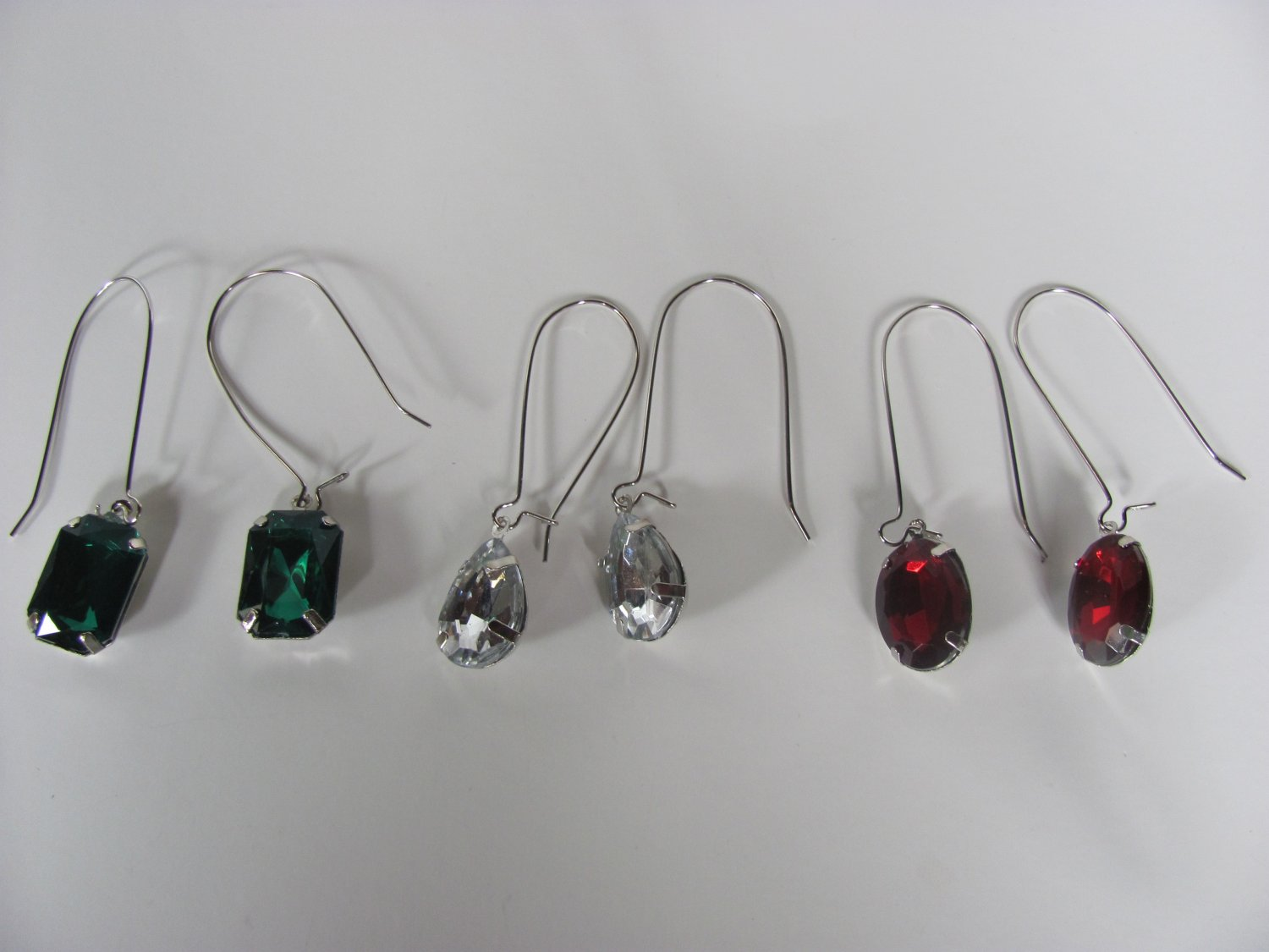 3  Colored Crystal Drop Earrings
