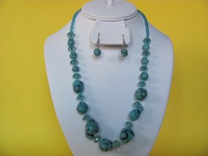 Turquoise Bead Glass Necklace, Earring Set