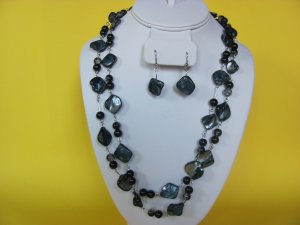 Long Gray/BLack Shell Necklace, Earring Set