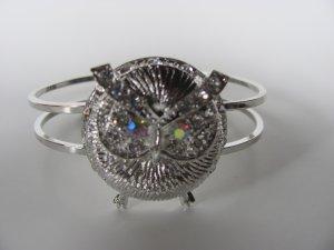 Silver Tone Owl Crystal Bracelet