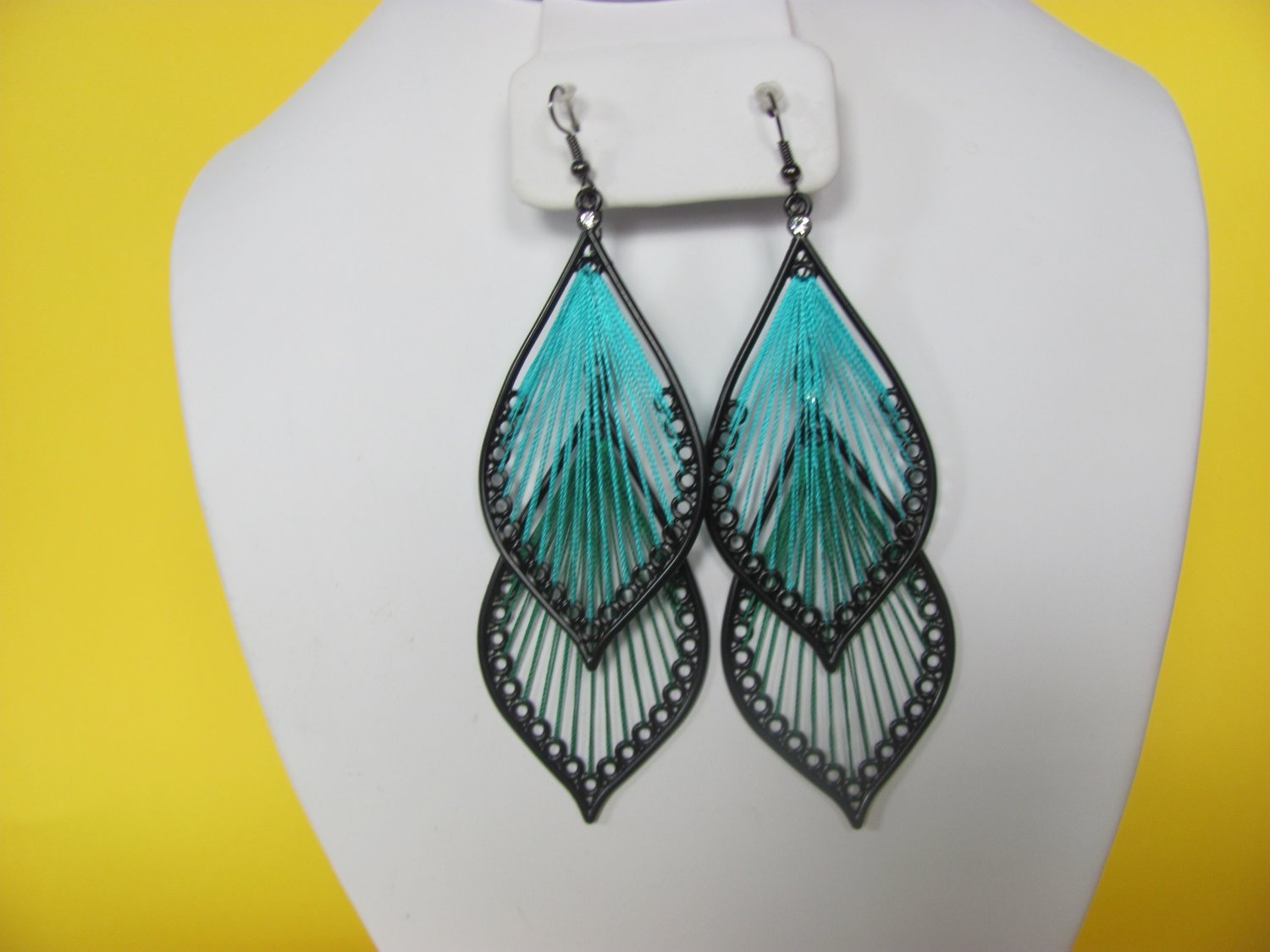 Double Thread Drop Earrings with Stones