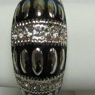 Black Silvertone Bangle Bracelet