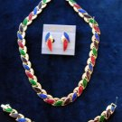 Gold Tone Multi Color Necklace, Bracelet and Earring Set - 3 Pcs