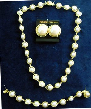 Pearl Gold Tone Necklace, Bracelet, Earring Set - 3 Pcs