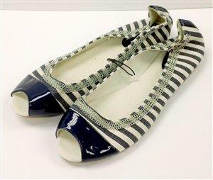 Navy Blue & White Stripe Slip-on Opened Toe - NY & CO - Size 10
