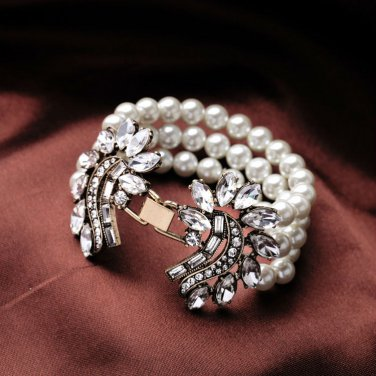 Crystal Simulated Pearl Cuff Bracelet White