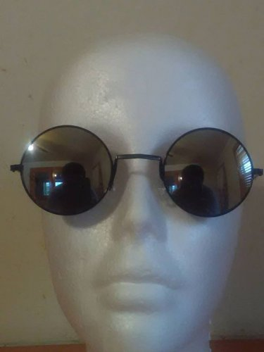 Sunglasses Round Cute Vintage Mirrored Black Lens