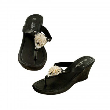 Wedge Sandals with Gold Cream Flower Embellishment - Black Size