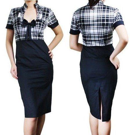 BLACK PLAID SECRETARY DRESS