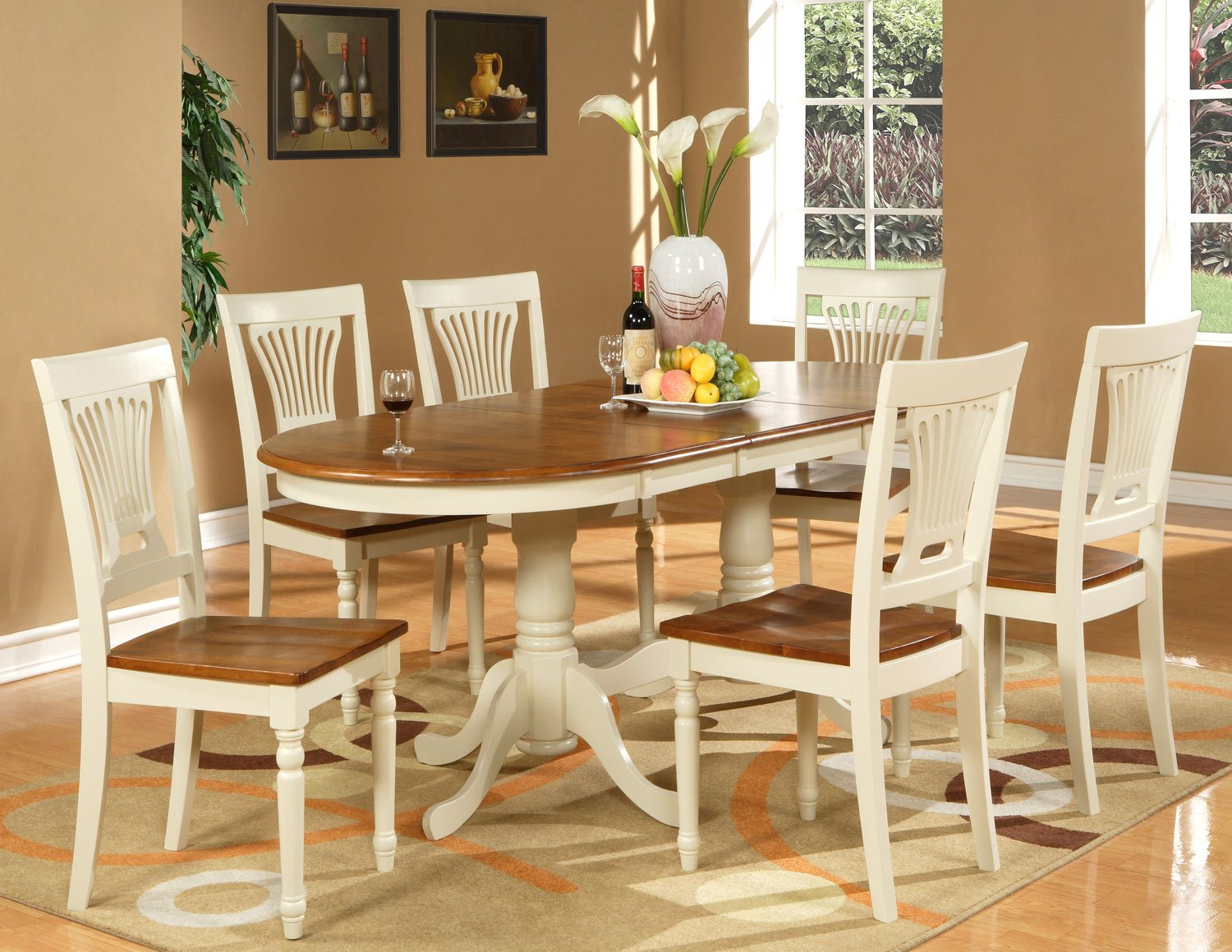 """9-PC Plainfield Oval Dining Room Table Set + 8 Chairs - Size: 42""""x78"""" in Butter milk. SKU: PL9-WHI"""