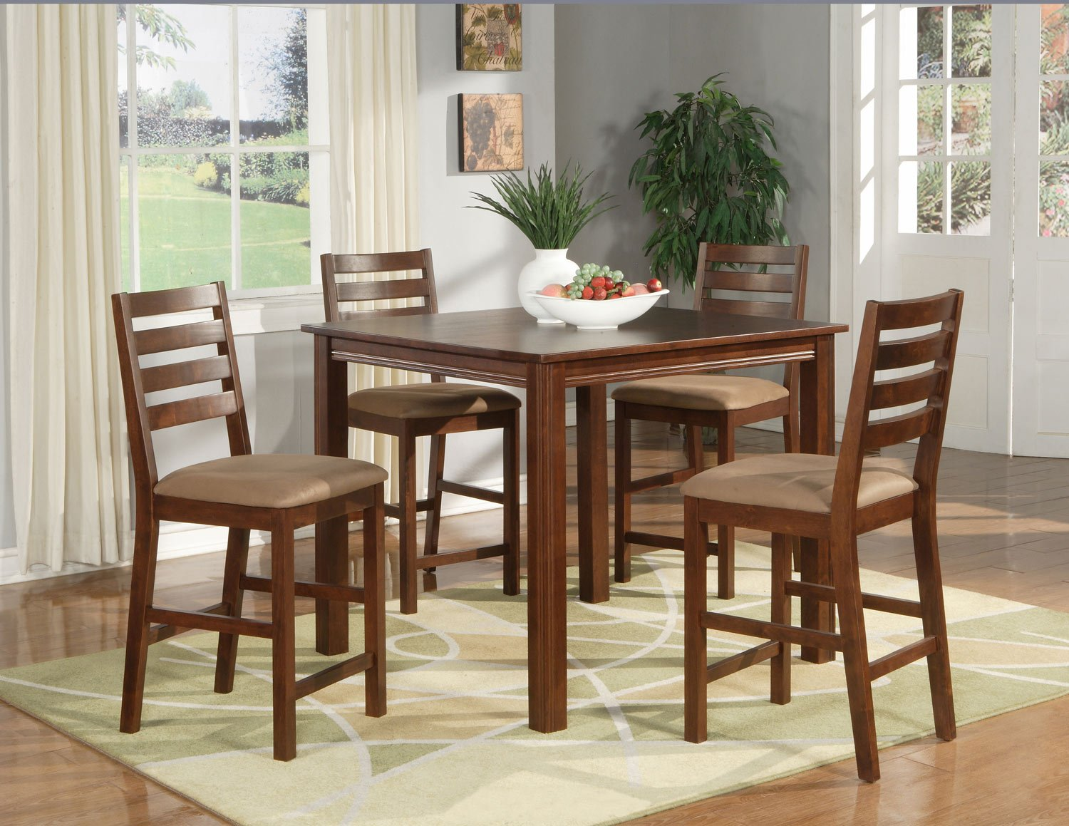 """Cafe 5-PC Square Gathering Pub Counter Height Table Set-Size: 42""""x42"""" in Espresso.  SKU:CF5-ESP"""