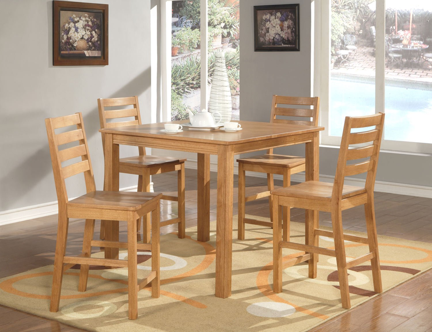 """Cafe 5-PC Square Gathering Pub Counter Height Table Set-Size: 42""""x42"""" in Oak. SKU:CF5-OAK"""