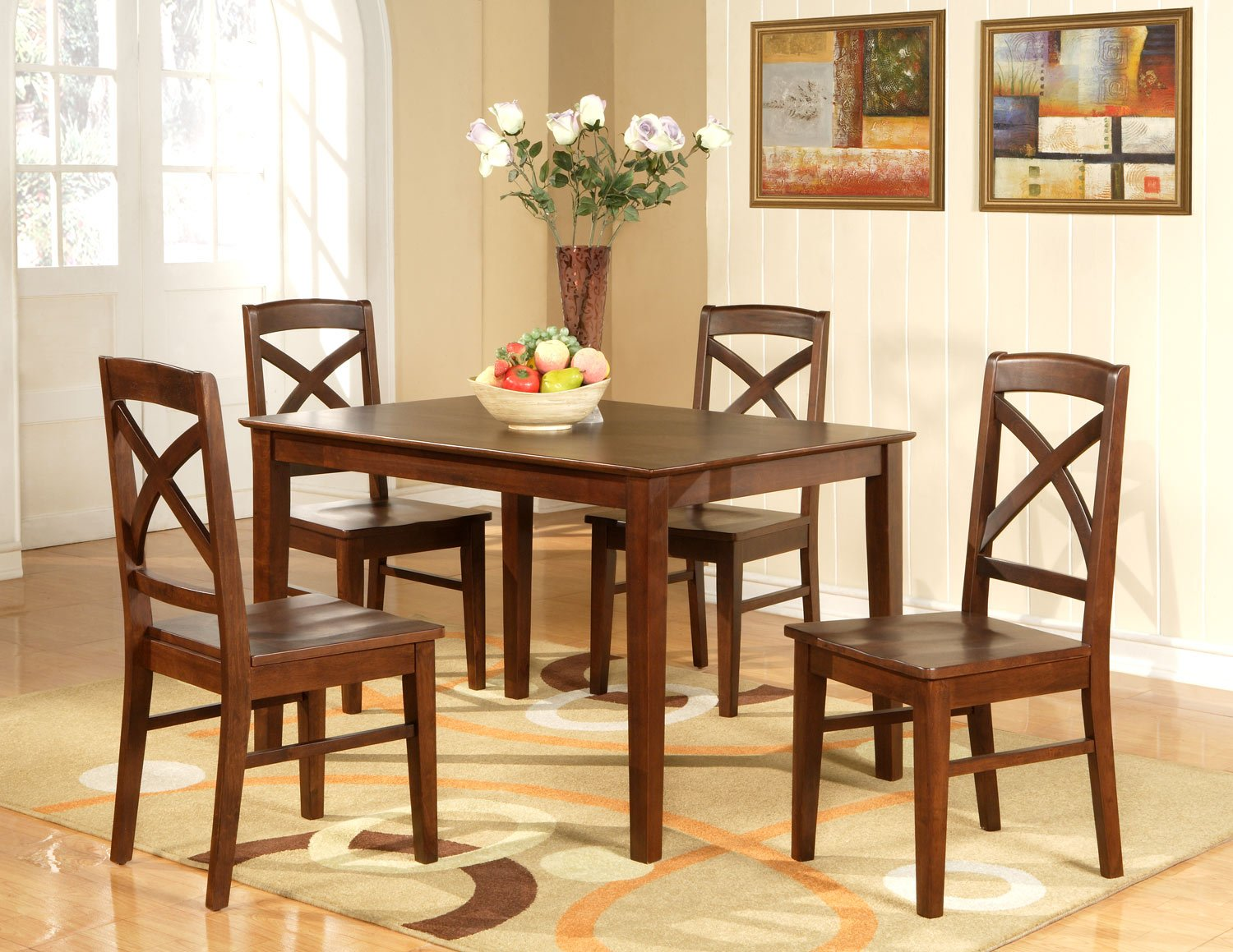 Lisbon 5 pc rectangular dinette kitchen table set size 36 x 48 in espresso sku lb5 esp - Rectangle kitchen table sets ...