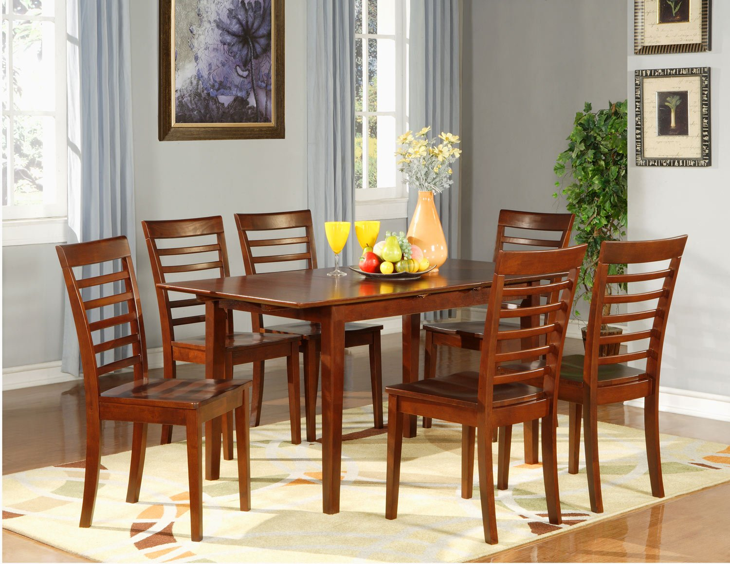 Picasso 5 Pc Rectangular Dinette Dining Table Set 32 X 60 With 12 Extension Leaf Sku Ps5 Mah