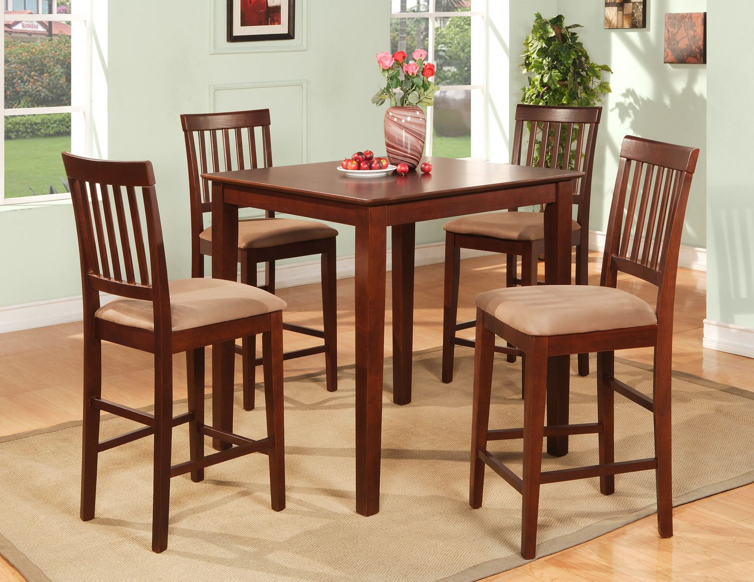 5-Piece Vernon Square Pub Table Set with 4 stools- in Mahogany Finish.  SKU: VN5-MAH