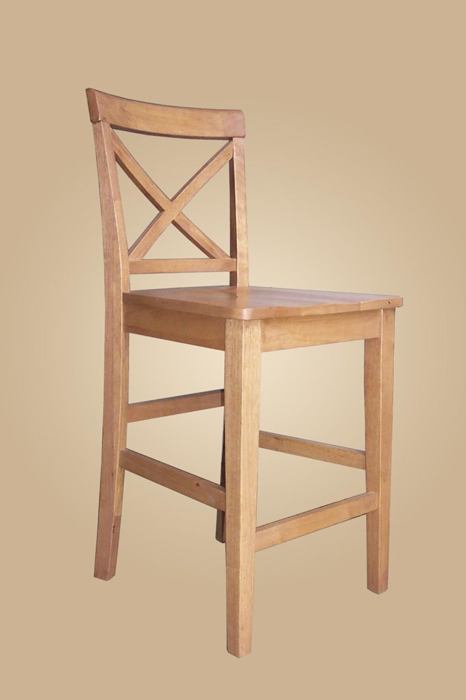 Set of 2  Pub counter height stools with wood or upholstered seat  in oak finish.